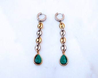 Mixed Link Emerald Earrings