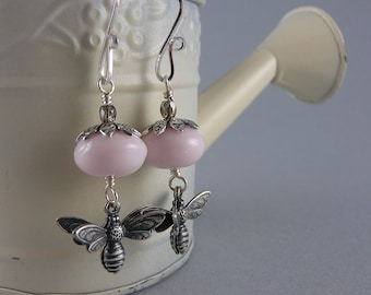 Pink Flower Busy Bee Earrings with Free USA Shipping