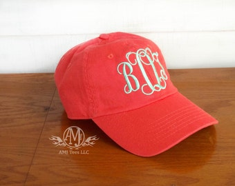 Monogram baseball cap, womens baseball cap, monogrammed gifts, personalized coral womens hat