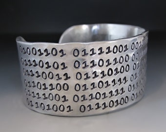 Men's Custom Silver Binary Code Bracelet / 1 inch cuff / Hand Stamped Personalized Cuff / Binary Code / Gifts for Him / Gifts for Geeks