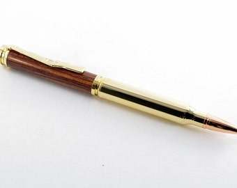 Handmade Ballpoint Pen - Bullet in Cocobolo Wood and 24K Gold, Handcrafted Wooden Pen, Pen Gift, Pen, Handturned Pen