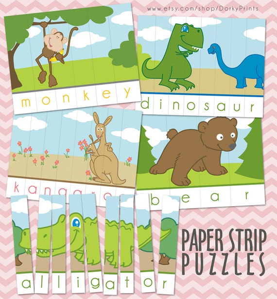 Animal Printable Puzzles PDF preschool printable