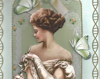 Handmade, women and flowers, 3D card category Vittorio de SICA - mother's day, birthday, thank you, butterfly