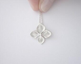 Silver Hydrangea Flower Necklace / Simple Flower Necklace / Dainty Sterling Silver Necklace / Minimalist Design