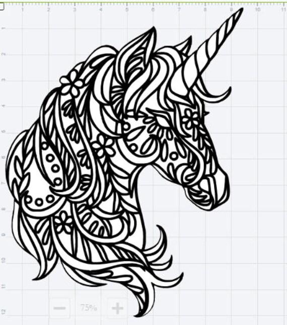 Line Art Design Studio : Mandala unicorn design svg eps dxf studio cut file