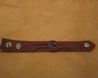 Grichels leather wrist cuff/bracelet - chocolate brown with custom purple-blue fish eye