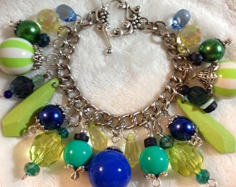 Charm Bracelet, Shades of Green and Blue