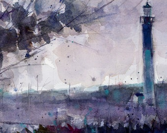 Original Print  OR Original Watercolor -  Jersery Shore Lighthouse Seascape