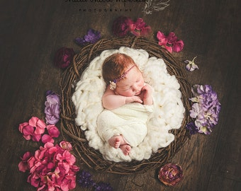 Digital Newborn Photpgraphy Prop- brown wreath with multicolour flowers