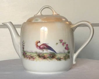PK Unity (Germany) Bird Motif Orange Lusterware Teapot - Vintage