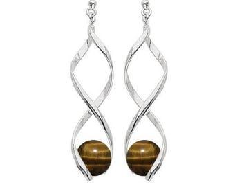 Swirl silver plated - Tiger eye earrings