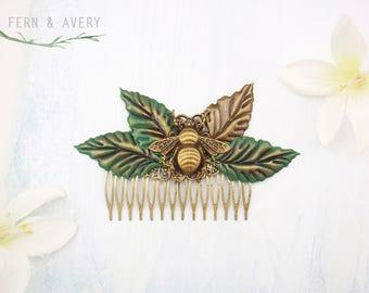 Queen bee hair piece. Green leaf bronze bee hair clip. Golden bronze bee hair accessories