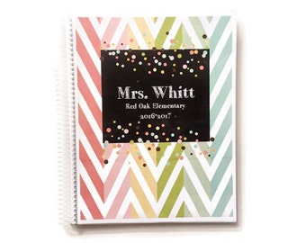 Teacher Planner - Lesson Plan Book - multicolored chevron PERSONALIZED for you with lesson plans, charts, notes, etc. TP126