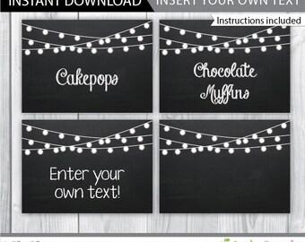 chalkboard food labels / chalkboard food signs / chalkboard food tent / printable chalkboard labels / editable chalkboard labels / INSTANT