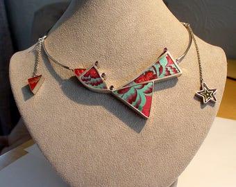 Modernist Studio OOAK Sterling Silver Gemstone Niobium Inlay Collar NECKLACE