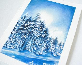 Timberline Resort Watercolor Print - WV Landscape Print - Landscape Watercolor Illustration