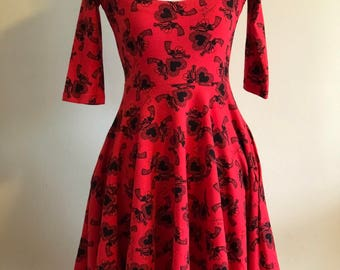 NWOT Betsey Johnson Punk Label Doily Hearts & Guns Print Red Fit 'n' Flare Dress
