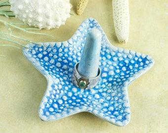 Turquoise Starfish Ring Holder Bowl Ceramic Ring dish handmade pottery Beach wedding favor Decor engagement gift for her under 25