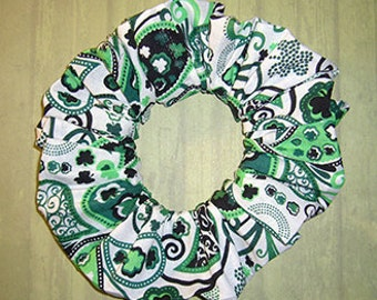 Clover Paisley Hair Scrunchie, Ornate Shamrocks Ponytail Holder, St. Patrick's Day Themed Fabric Hair Tie