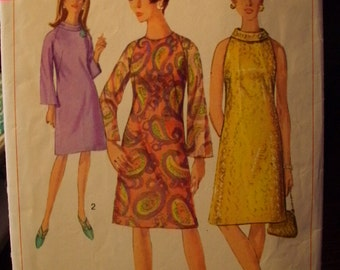 Simplicity 6783 Printed Pattern ~ Size 14 Bust 34 ~ 1966 Misses' One-Piece Dress