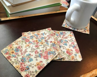 Floral fabric coasters