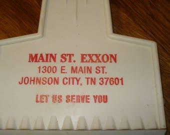 Advertising Ice Scraper, Plastic, Main Street Exxon, Johnson City, Tennessee, FREE SHIPPING