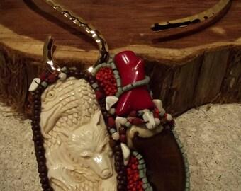 Nature's Gifts II -Bear/Eagle Bone Beaded NeckPiece