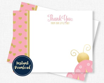 Ladybug Thank You Card, Pink and Gold Thank You, Birthday Thank You, Blank Thank You, Pink Ladybug Printable INSTANT DOWNLOAD