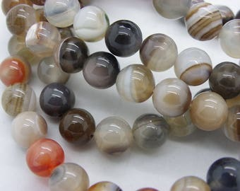 47 agate natural 8 mm transparent brown beige