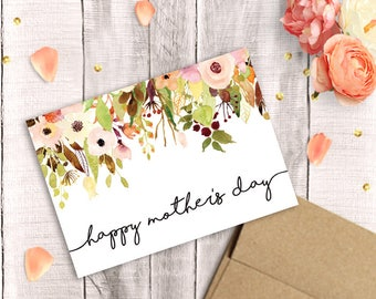 Printable Mother's Day Card, Happy Mother's Day, Watercolor Floral, PDF Instant Download, 5x7 Greeting, Mother, Sister, Wife, Grandma
