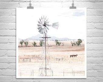 Western Art, Horse Photo, Horse Ranch Photograph, Western Picture, Horse Art, Western Landscape Photograph, Windmill Picture, Cowgirl Gift