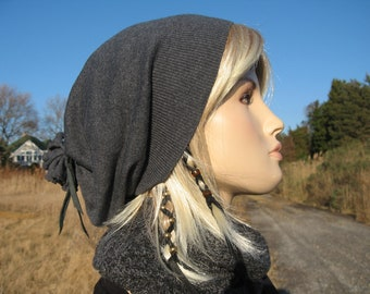 Cashmere Beanie Hat Women's Our Basic Slouch Tam Charcoal Gray with Black Leather Tie Back A792