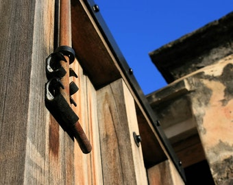 Wooden Gate Deadbolt Photograph - 8x10 Architecture Photo - Golden Wood - Blue Sky - Rusty Bolt - Historic Fortress Door - Vertical Lines