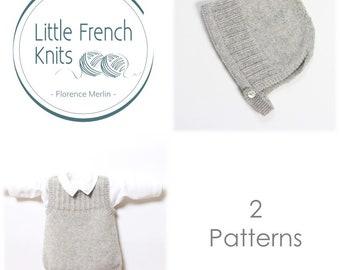 Ensemble bébé / 2 Modèles / Explications tricot en Anglais / PDF Téléchargement Instantané / 4 Tailles : Naissance / 24 mois