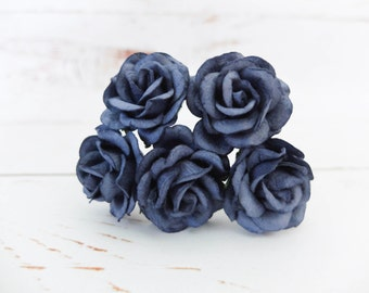 5 35mm navy blue paper roses with wire stem - 3.5 cm mulberry paper roses