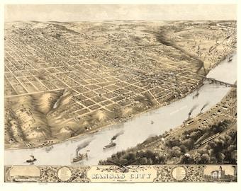 Vintage Map - Kansas City, Missouri 1869