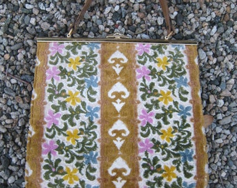 Unused Almost Perfect Tapestry Carpet 1960s Handbag with Goldtone Clasp and Leather Handle