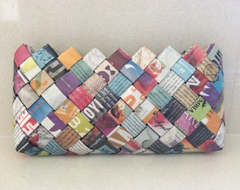 Clutch Purse, Magazine Purse, Newspaper Purse, Woven Purse, Colorful Purse, Anniversary, Unique, Stylish Pouch, Eco fashionable Clutch Purse