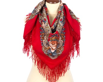 "Russian babushka red folk kerchief size 35"" Pavlovo Posad wool shawl Pink roses floral shawl Mom birthday gifts Bohemian fringed piano shawl"
