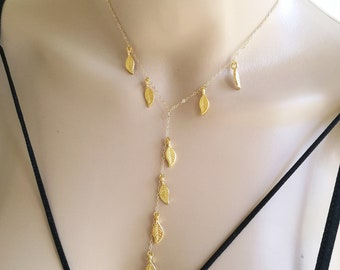 Leaf Lariat, Gold Leaf Lariat, Lariat Necklace, Gold Lariat, Leaf Necklace, Gold Leaf Necklace, Y Leaf Necklace, Y Lariat Necklace, Gold Y