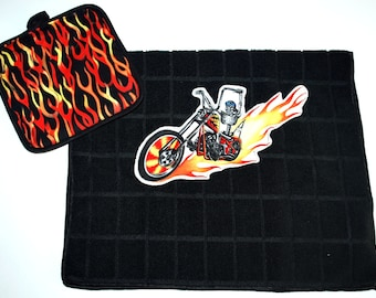 Biker Pot Holder & Kitchen Towel Set....Red