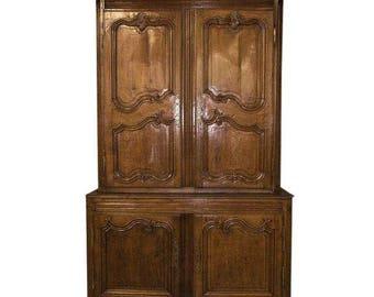 Antique Regence Provincial Carved Oak Buffet Deux Corps Cabinet
