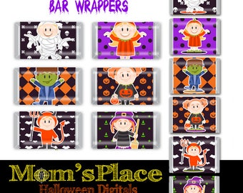 """Halloween Hershey Mini's and Nugget Candy Bar Wrappers """"Kids Costumes set1, Tags, printable party favor, digital file"""