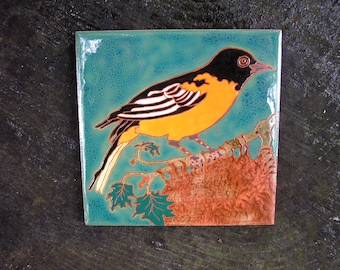 Baltimore Oriole Tile -CUSTOM ORDER -allow 4-6 wks production time-Arts and Crafts style, birder, used in kitchen,bath, fireplace surround
