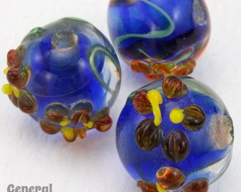 12mm Blue/Red/Yellow Floral Lampwork Bead (4 Pcs) #4804