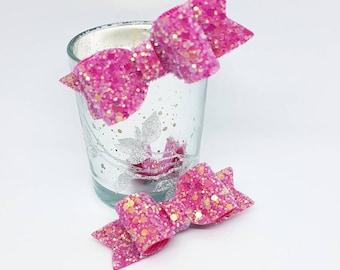 Pink glitter hair clips, set of glitter Hair bows, pink hair bows, pink hair clips, Toddler hair clips, Baby Girl Hair bows, pink hair bow