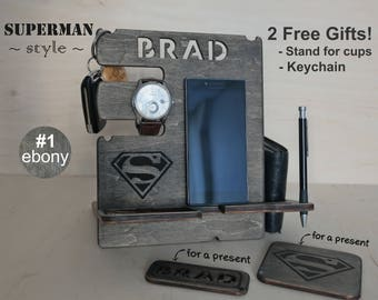 Mens gift, Gift for Men, Personalized docking station, Gift for him, Gift for husband, Gift for dad, iphone dock, Superman gift idea, Men