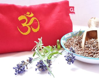 Eye pillows, relaxation, meditation, wellness, OM symbol, lavender, flax seed, wellbeing, red, gold, embroidery,.