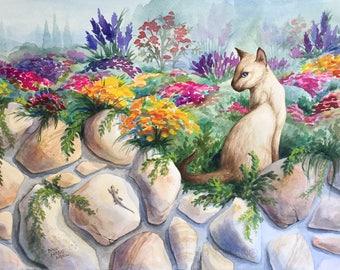 "Original Watercolor Painting, Cat Painting, Siamese Cat, Colorful Art, Pink, Green, Gray, Purple, 11"" x 15"", Madonna Inn, Garden Theme"