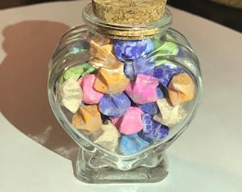 Handmade Glow in Dark Origami Stars in Heart Jar